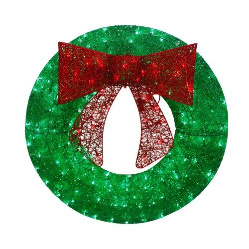 Holiday Living 36 In Pre Lit Outdoor Green Sequin Artificial Christmas Wreath With Multicolor Led Lights Lowes Com Artificial Christmas Wreaths Christmas Wreaths With Lights Outdoor Christmas Wreaths