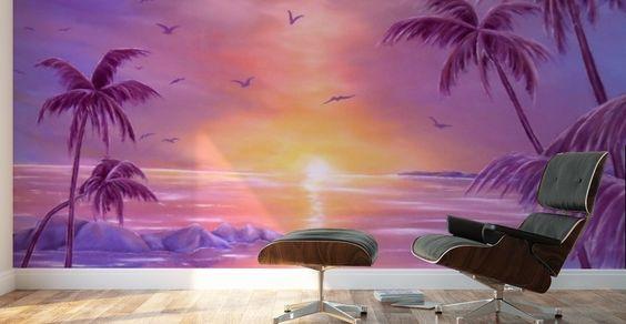 Mural Print,  interior,decor,decoration,wall,art,room,design,modern,cool,unique,artistic,beautiful,painting,purple,violet,tropical,palmtrees,coastal,sunset,sunrise,seascape,ocean,sky,saltwater,big