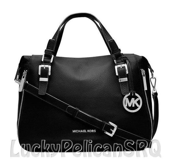 MICHAEL Michael Kors Essex Large Satchel Bag Handbag Leather Black Silver NWT #MichaelKors #Satchel
