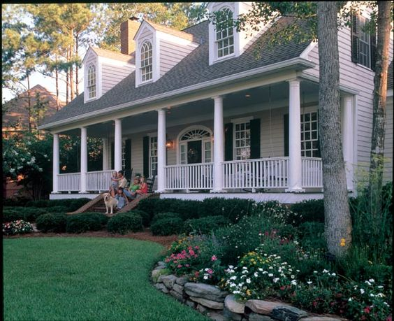 Cape cod colonial farmhouse southern house plan 86222 for Low country house plans with porches
