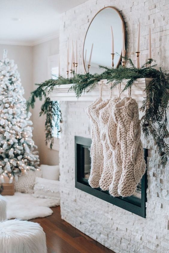 Check out our Rustic Christmas Decor Ideas perfect to decorate your house for Christmas with this delightful stocking. Cozy style design with a cable knit pattern on the stocking. These are the perfect Knitted Christmas Stockings DIY Rustic.