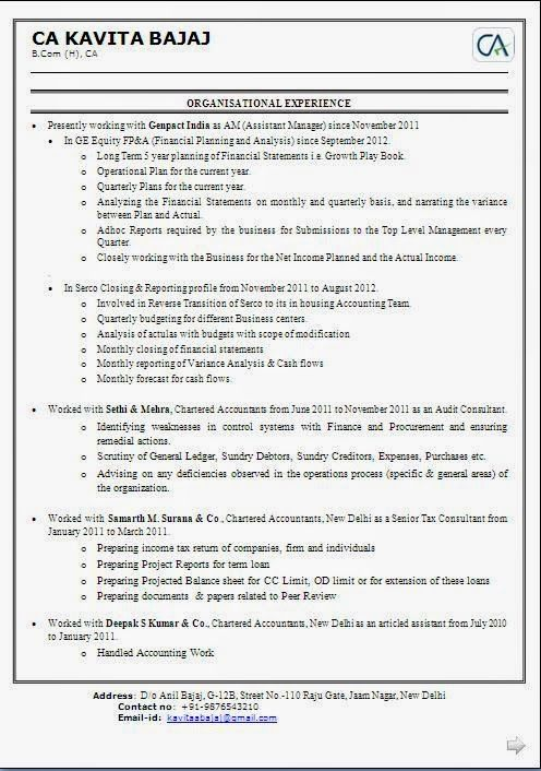 professional resume format for chartered accountants excellent work experience professional chartered free download link for chartered - Professional Resume Samples Free Download