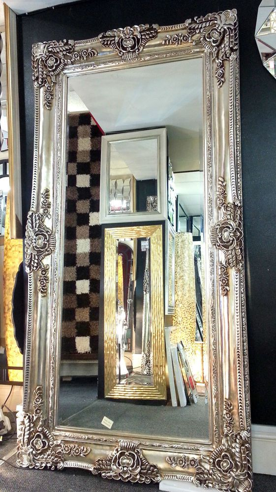 X Large Antique Champagne Silver Ornate Vintage Leaner Wall Mirror