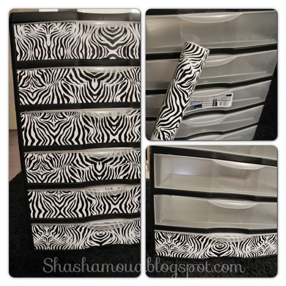 DIY zebra plastic drawers. ..yes please