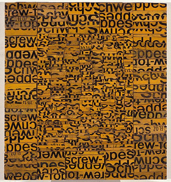 Rosalie Gascoigne  High Density, 1992  sawn / split soft drink crates on plywood  79 × 72.2cm