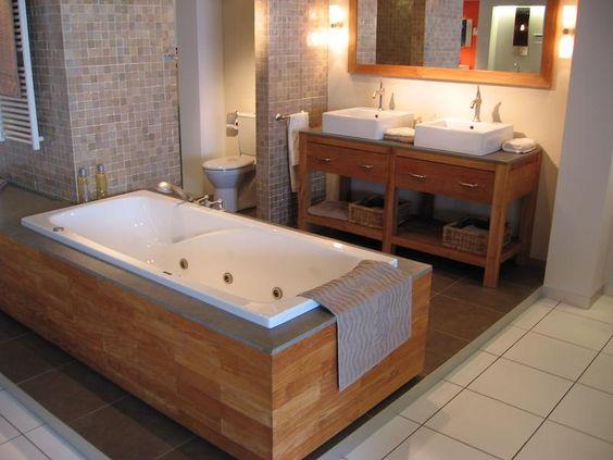 Houten badombouw badkamer pinterest bamboo and bathroom - Badkamer exotisch hout ...