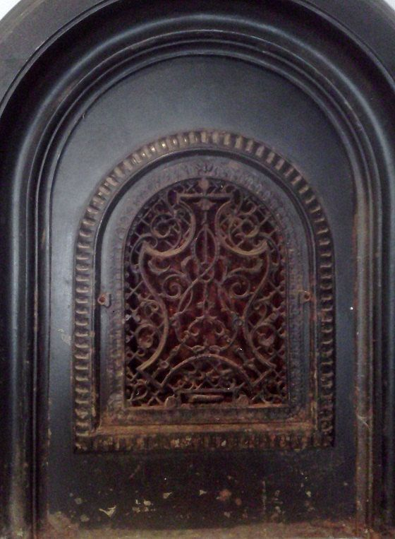 Iron Fireplace Cover. Vintage Fireplace Cover Vent Grate Ornate Cast Iron Arched with Matching  Double Surround fireplace cover and walls