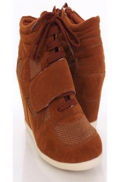 Cognac Fabric Perforated Closed Toe Sneaker Wedges