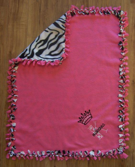 Personalized Monogram Custom Fleece Tie Knot No Sew Infant