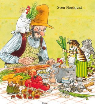 Pettson and Findus cooking book illustration. I would love to see what they have planned. Always a great children adventure in these books and the illustrations are simply amazing. Sweden.