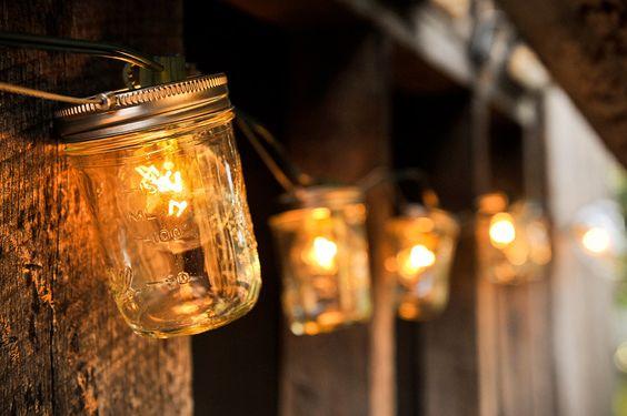 Mason Jar Strand with Lights: Wedding Idea, String Lights, Jar String, Jar Idea, Jar Lights, Mason Jars, Masonjar