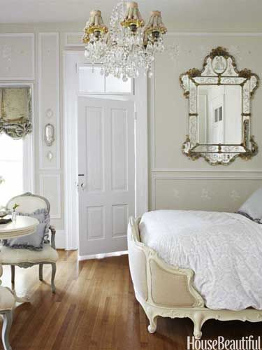 French-style bedroom. Design: Annie Brahler. Photo: Bjorn Wallander. housebeautiful.com. #french #mirror #bedroom #chandelier