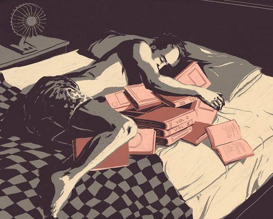 Deixe-os cair no sono no calor e virar as páginas imperturbável ...
