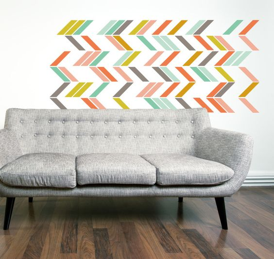 MULTI COLOR HERRINGBONE (Qn. 90)- Wall decal - decorative and modern - THE LOVELY WALL