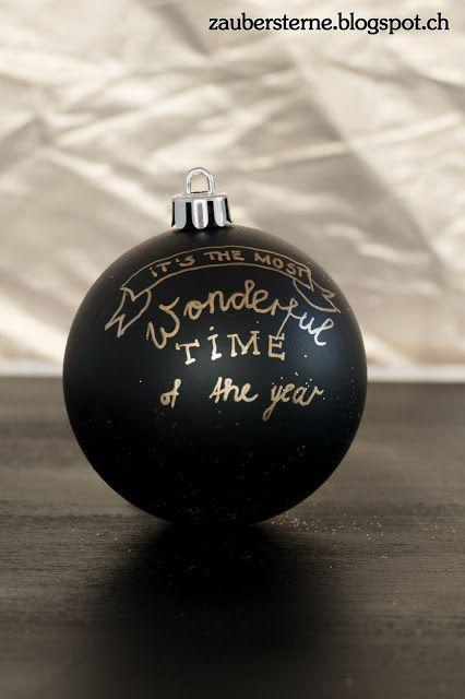 DIY Weihnachtskugel, schwarze Weihnachtskugel