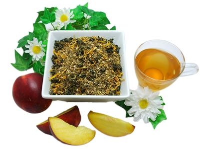 Natural Serenity -  	 Green rooibos, which contains the exclusive antioxidant known as aspalathin, mixes well with Chinese jiao gu lan herb (known in herbal medicine as a longevity herb) to produce a smooth herbal infusion. Strawberries, marigold, and peach extract are added to give this rooibos blend a fruity boost!