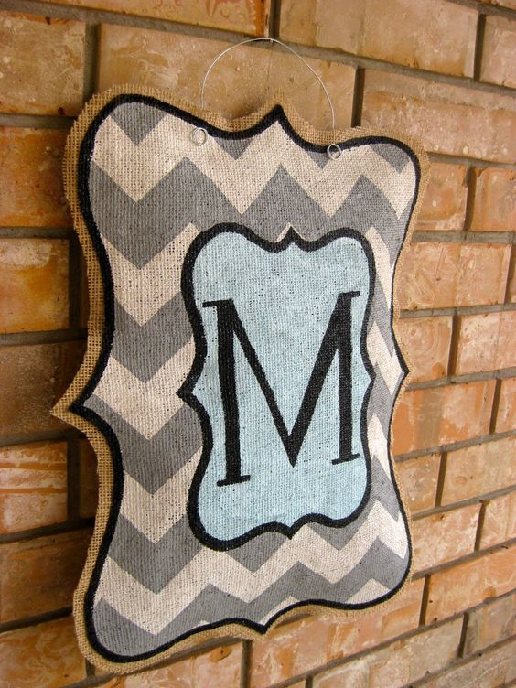 """painted burlap door hangers   Be the first to review """"Chevron Monogram"""" Click here to cancel ..."""