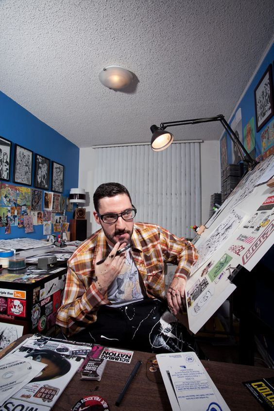Artist: Jim Mahfood ~ A tiny peek into his space where all the magic (and TALENT) happens!