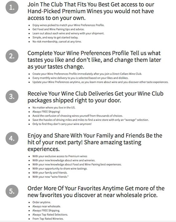 Direct Cellars Wine Club, imported wine from many different places - change order template