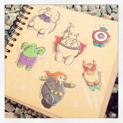 Image via We Heart It https://weheartit.com/entry/169202149 #art #blackwidow #captainamerica #disney #drawing #Hulk #ironman #pixar #theavengers #thor #loki #baymax