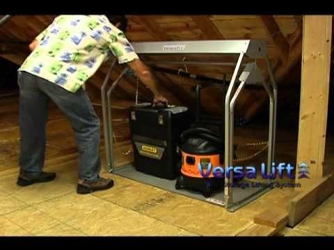 Attic lift attic storage and garage on pinterest for Garage attic lift elevator