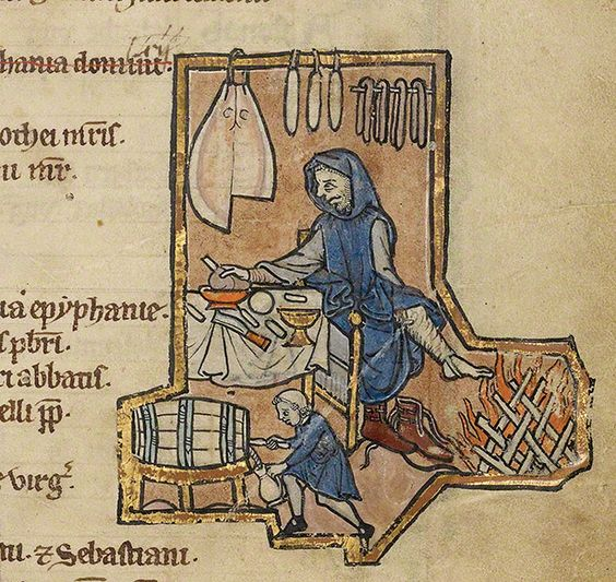 Likely not a cook, but shows meats hanging in the kitchen so included it A Man Warming by the Fire (detail) in a psalter by an unknown illuminator, Belgium, mid-1200s. Tempera colors, gold leaf, and ink on parchment, each leaf 9 1/4 x 6 1/2 in. The J. Paul Getty Museum, Ms. 14, fol. 3