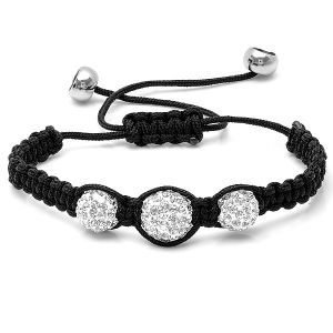 Graduated 10-12mm Triple Crystal Disco Ball Shamballa Bracelet Adjustable from 6 to 9 inches. Adjustable Crystal Disco Ball shamballa bracelet which can adjust from 6 to 9 inches long Length from 6 to 9 inches adjustable 3 Crystal Balls from 10-12mm