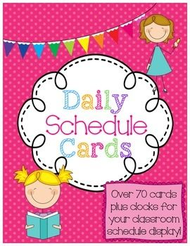 Daily Class Schedule Display Cards Set