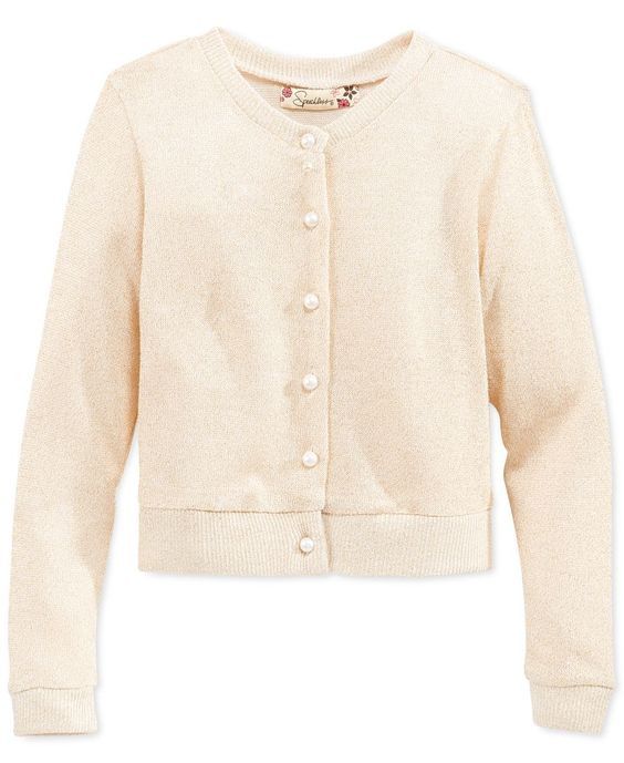 Speechless Girls' Button-Up Cardigan Sweater