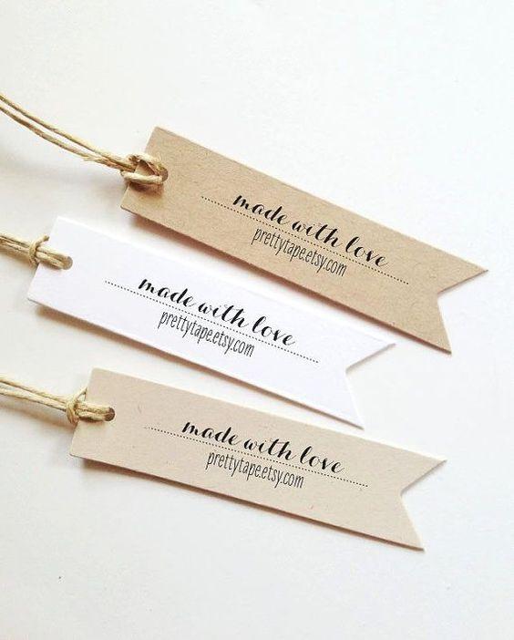 Faveurs de mariage Tags faite avec amour Tag Pennant Custom Tags étiquette Kraft Tags Wedding Favor Tags Custom Favor Etiquettes cadeaux personnalisés (lot de 25)