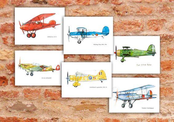 Airplane decor nursery Set 6 prints Vintage airplane watercolor Retro military aircraft poster Boy's nursery wall art Transportation by Mirabilitas on Etsy