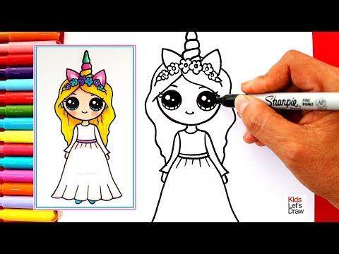 Como Dibujar Una Chica Unicornio Kawaii Vestido Blanco Learn