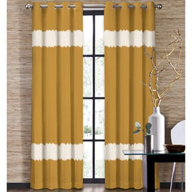 Colordrift Seismic Two-Tone Stripe Grommet-Top Curtain Panel ...