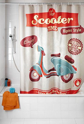 """#Cortina de #Baño Vintage WENKO #Scooter 21586 La cortina de baño vintage se caracteriza por llevar estampados de objetos que fueron tuvieron su """"boom"""", su mod"""