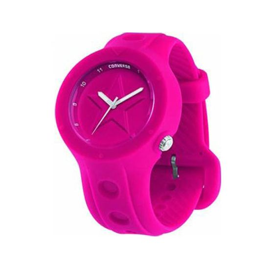 Converse Rookie Watch * Quartz Movement * Magenta Allstar Dial With Luminescent Hands And Arabic Numerals * Case Diameter 43mm Approx * Rubber Strap With Buckle * 50m Water Resistant * Reference VR001 620