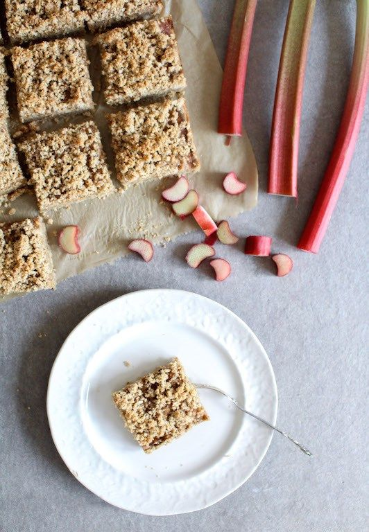 Rhubarb Oat Bars with Streusel Crumb Topping - gluten free, vegan, refined sugar free, healthy - heavenlynnhealthy.com: