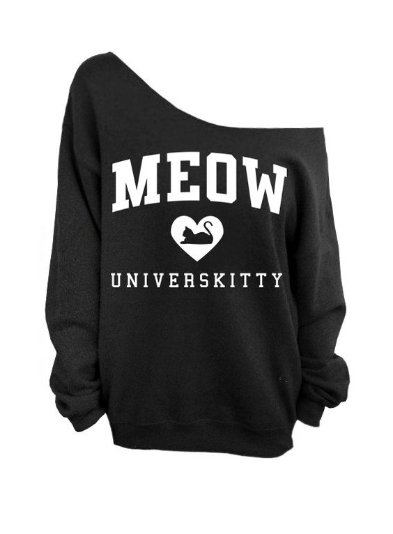 Meow Universkitty Cat Shirt  Black Slouchy by DentzDesign on Etsy, $29.00