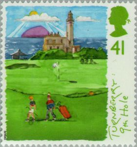 1994 Great Britain postage stamp commemorating Turnberry's Ailsa 9th hole. 41p Scottish Golf Course Series.