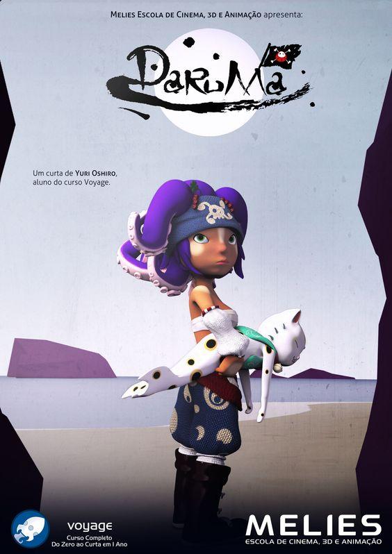 Cartaz do Curta-Metragem Paruma do aluno Yuri Oshiro. Curta realizado como trabalho de conclusão do curso Voyage da Melis | Escola de Cinema, 3D e Animação.