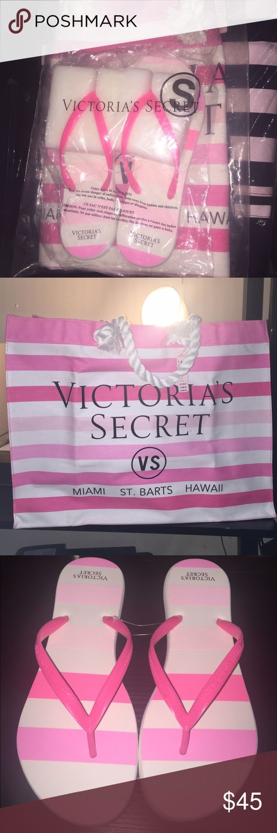 Victoria's Secret Bag and Flip flop set Size small, shoes fit like a size 7, Brand new, Never Worn, great for a day out in the sun or going to the beach ;) Victoria's Secret Bags Totes