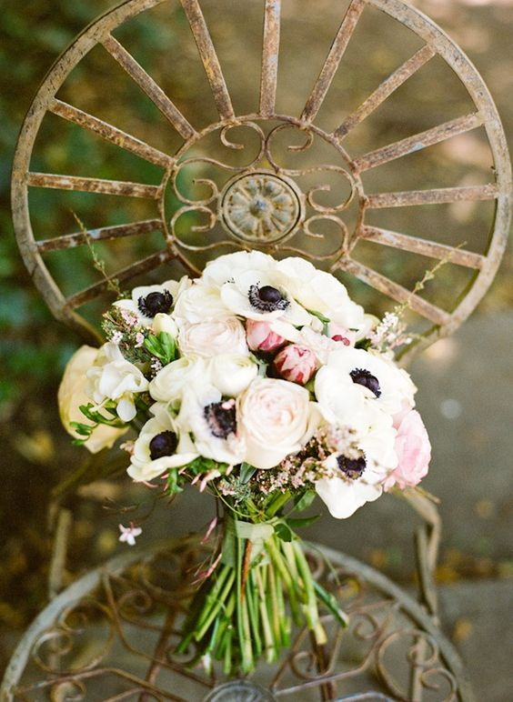 Santa Monica Wedding White Rose Anemoe Bouquet