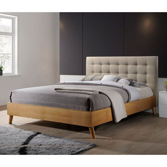 Belford Double Bed In Beige Fabric With Natural Oak Finish Wooden Bed Frames Leather King Size Bed Bed Frame