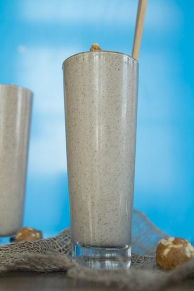 Peanut Butter Bomb Smoothie for Two with PB Crunch balls. Oh yea!