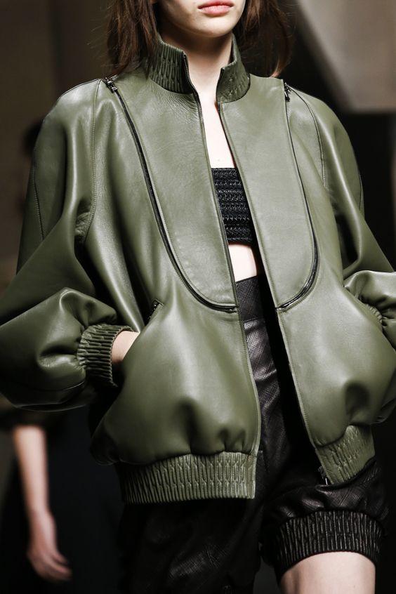 Leather bomber jacket. Fendi Spring 2016 Ready-to-Wear Fashion Show Details