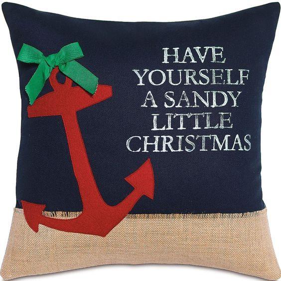 Sandy Little Christmas Pillow: Beach House Decor, Coastal Decor, Nautical Decor, Coastal Living Boutique