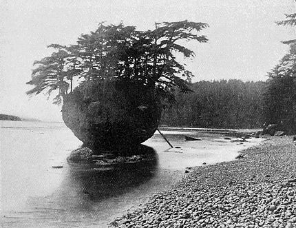 Egg shaped rock containing the burial house of a haida shaman in Northern British Columbia, Canada