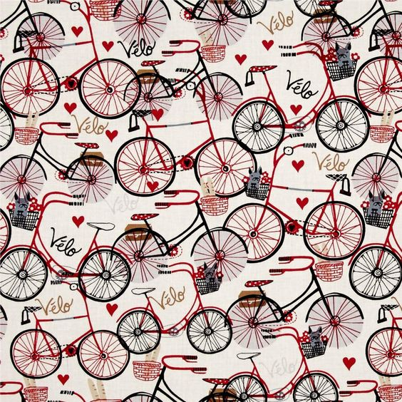 Timeless Treasures Velo Bicycles Ivory from @fabricdotcom  From Timeless Treasures, this cotton print is perfect for quilting, apparel and home décor accents. Colors include red, black, grey and cream.:
