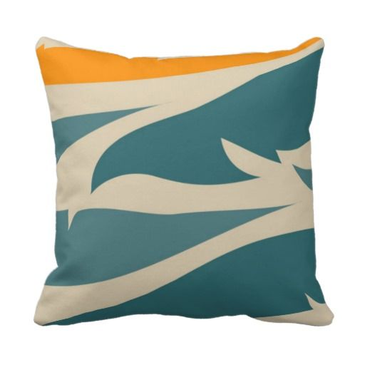 Teal Green & Orange Jungle Leaf Print Pillow