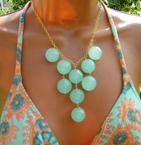 Seafoam Mint Chalcedony Stone Bib Necklace