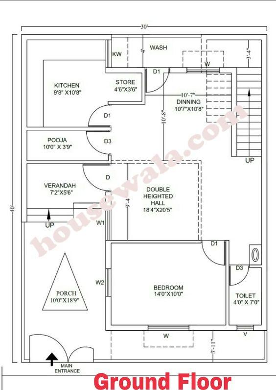 House Plan 30 X 40 1200sqft 30x40 House Plans Indian House Plans House Layout Plans